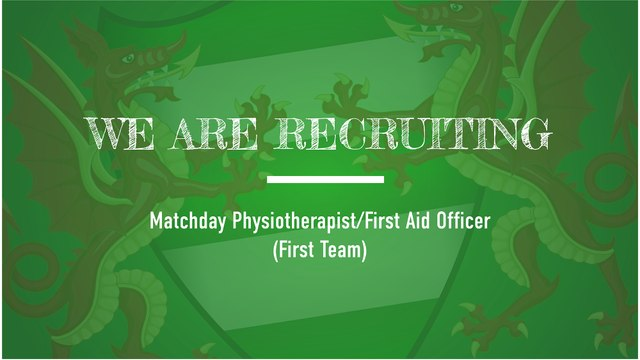 VACANCY: Matchday Physiotherapist/First Aid Officer (First Team)