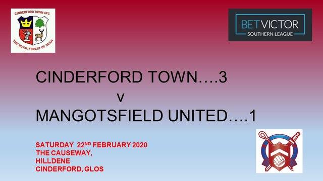 Cinderford Town...3   Mangotsfield United...1