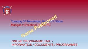 Evesham United game Postponed