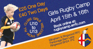 ERRFC Girls Rugby Camps open to girls from any club playing U10 to U13 rugby