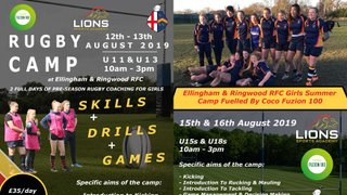 ERRFC partner with Lions Sports Academy for Girls Rugby Camps w/c August 12th