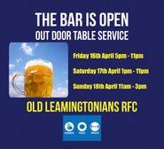 Happy Friday Bars Open @ 5pm (16th April)