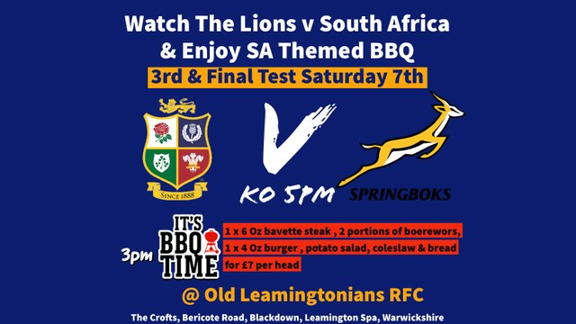 Third & Final Test Saturday 7th August  Lions V South Africa
