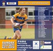This Sunday OLS Ladies V Aston Old Edwardians KO:2.30