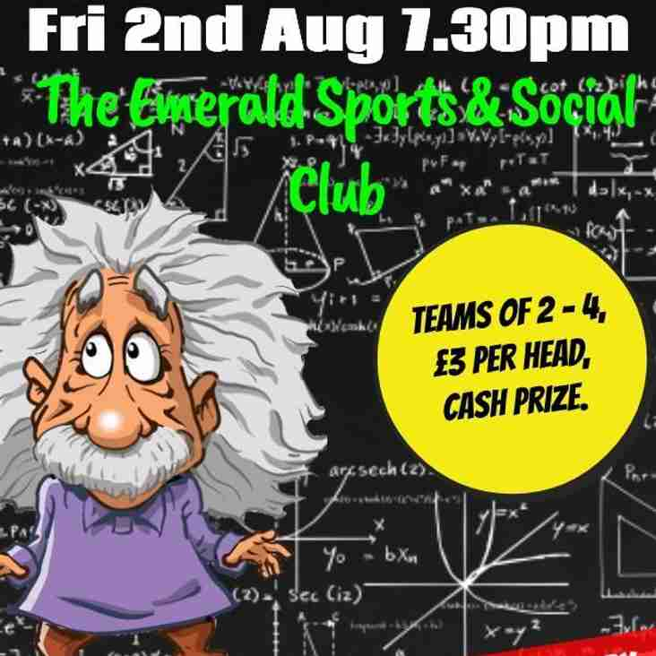 Club News: QUIZ NIGHT  2nd August