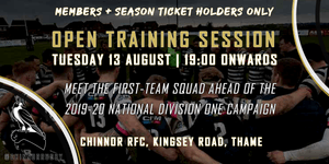 1st XV Open Training Session -Members and Season Ticket Holders Only
