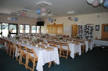 Set up for a wedding of 60 guests/could fit 65
