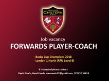 Job Vacancy - 1st XV Forwards Player-Coach