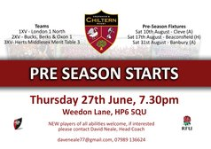 Pre-season starts, Thurs. 27th June 7:30pm