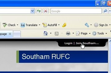 Select Join Southam in the top right of screen