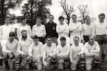 1967 - The wives and mums must have loved washing the white shirts  Top Left - Mike Murphy, Nick Fox, Ian Alsop, Geoff Haville, Adrian Watkins, ??, Dennis Ayres, Roy Edwards Bottom Left - Mike Amos, Rex Montgomery, Ed Sturley, John Pearson, Jim F