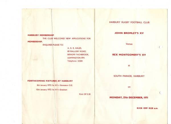 1971 - Harbury v Southam Boxing Day Game Program