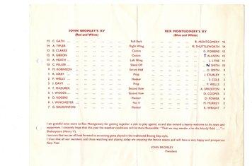 1971 - Harbury v Southam Boxing Day Game Team List