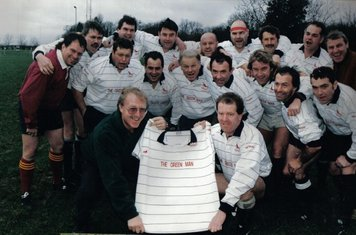 The vets in the 90's sponsored by the Green Man (back row) G Gilkes, M Haville, J Ross, C Davies, G Summers, G Lewis, M Mann, S Oakley, B Griffin (Frint row)  ??, A Tufferey, B Jones, N Smith, A Campbell, T Dune N Bates