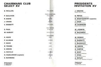 1987 - Silver Jubilee Match - team sheet