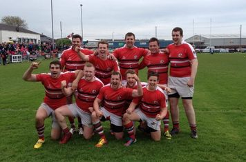Larne after defeating Carrickfergus in the Plate Final at Carrick Sevens 2014