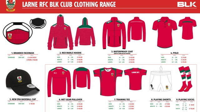 Larne RFC New Club Clothing Range 2020-21