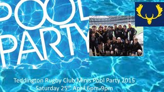 Teddington Rugby Club Minis Pool Party - Saturday 25th April 6pm (Hampton Pool)