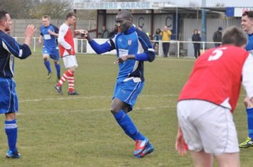 Saydou Bamba, points to Luke Walker as his shot was too hot for the keeper and Saydou scored from loose ball Max Rothwell (right) comes to join celebrations... All Three scored