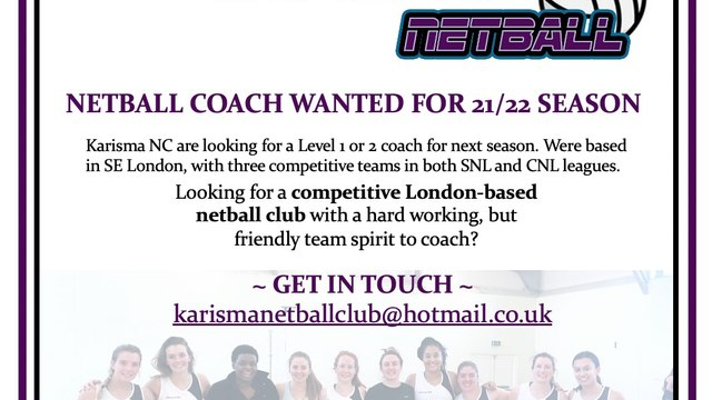 Karisma are recruiting a new Head Coach for 21/2022 season