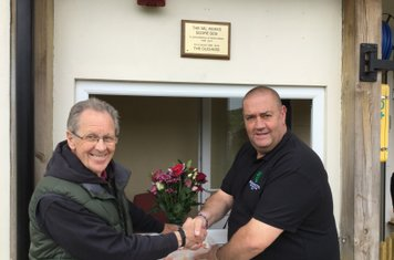 Chairman Terry Barnes presents cheque to Ace for Cancer Research