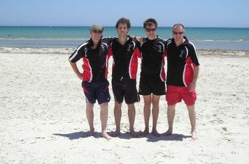 Quin-Sams from left to right, Rob, Tom, Joe (Rob's son, lives in Adelaide,plays for Elizabeth Rugby Club) and Dave Samuel on Semaphore beach, Adelaide. Jan 2014.