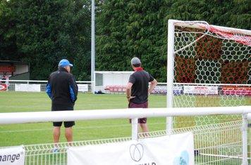 Chairmen of Football & Social club having a pre-season socially distanced natter!