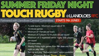 Summer Touch Returns Friday 9th June