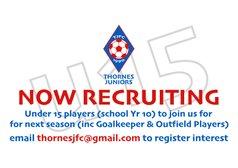 We're Recruiting U15 Players For Next Season