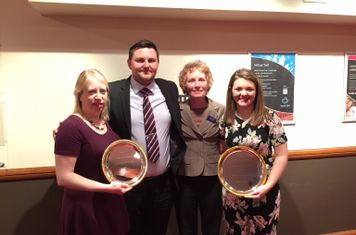 Club photo at LSN awards - left to right; Helen Beattie (Ladies Club Captain), James Wallis (Chairman), Tricia Murphy (Vice-Chair), Rebecca Blanchett (Club volunteer and junior coach)