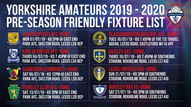 Pre Season Fixtures Update