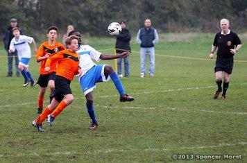 """CCYFC Whites U14s (4) v Herongate Athletic """"Black"""" (2) 17.11.13. Image by: Spencer Moret"""