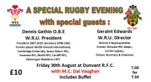 A SPECIAL RUGBY EVENING WITH GUESTS & BUFFET (Aug 30th)