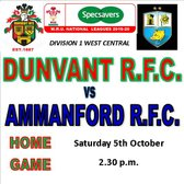 DUNVANT HOST AMMANFORD THIS WEEKEND (5th Oct)