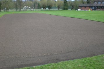 Area in front of square following ground preparation.