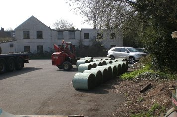 Unloading turf in the car-park