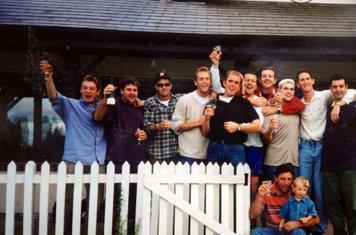 Western League Champions 1997 (undefeated season). L to R Darryl Jones, Tim Hankins, Greg Owen, Stuart Barnes, Greg Brown, Clive Woods, Dougie Small, Rob Potter, Darren Barnes, Neil Coxhead.  Front row: Shaun Smith (& Jordan).