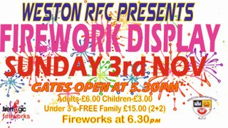 Come and see Firework Magic at Weston-s-Mare RFC on Sunday 3rd November