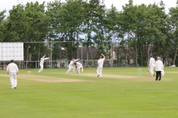 2nd wicket - Louis Allison is stumped by Kev Mountford off the bowling of Michael Brown.