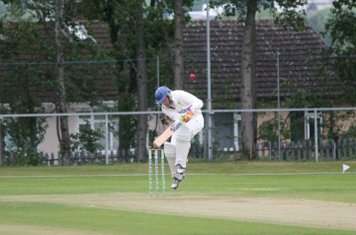 Chris takes evasive action to a short ball from the Porthill Pro.