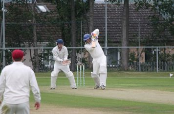 Chris Lowndes punches into the offside at the beginning of his innings.