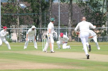 Mick Rowley is caught at 2nd slip by Louis Allison.