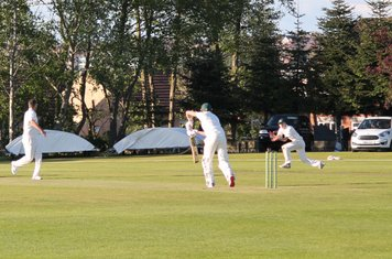 72 for 8 - Scott Winnington holes out to Callum Harrison at Mid Off of the bowling of Tyron.