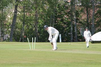 But is soon bowled by Cameron Sinclair.