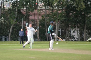 Sam eventually falls for 34 - caught by Andrew Hawkins off the bowling of David Housley.