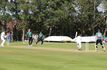 Moddershall 8th wicket (159 for 8) - Matthew Wright drives Sam Rowley to Daniel Reed at Mid Off.