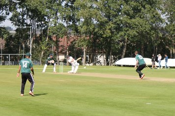Moddershall 6th wicket (121 for 6) - Joe Beeston hits Steve Smith straight to Junaid Qureshi at Mid Off.