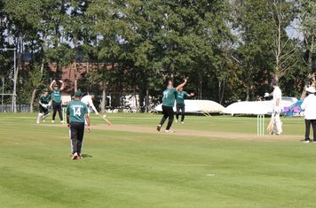 Moddershall 4th wicket (73 for 4) - David Housley is adjudged LBW to to give Gareth Abbots his third wicket.