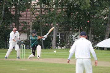 Junid Qureshi looks to attack.