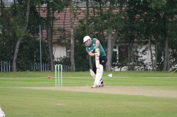 Gareth Abbotts drives into the covers to get within touching distance, making 40 not out.
